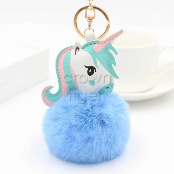 Unicorn Plush Keychain With Pom Pom