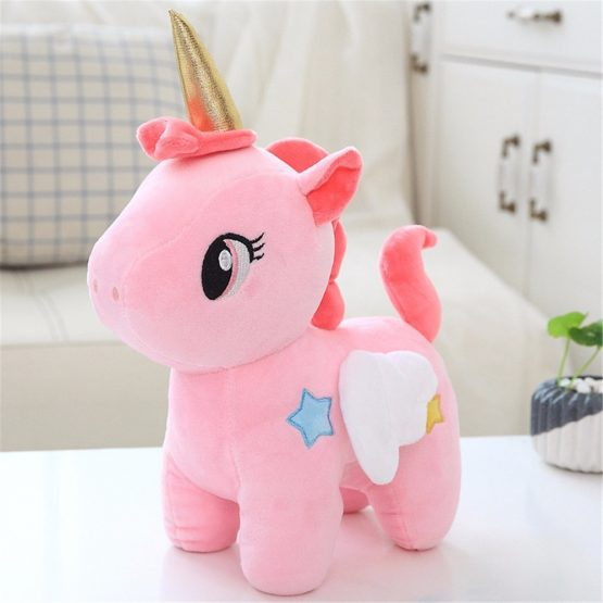 Soft Golden Horn Unicorn Plush Doll