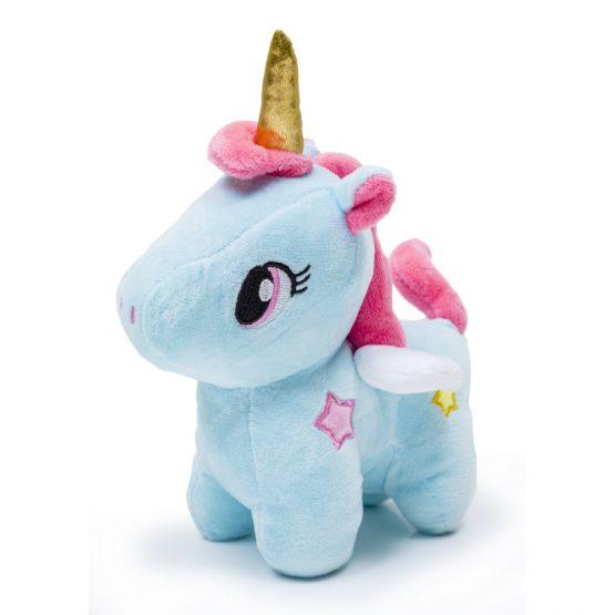 Soft Golden Horn Unicorn Plush Doll – Blue